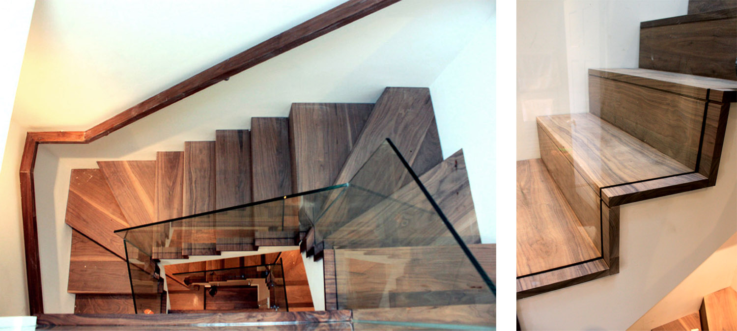 Walnut stair with glass guarding